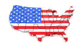 Map of USA with state borders and national flag Royalty Free Stock Photos