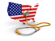 Map of USA with Stethoscope (clipping path included) Stock Photos