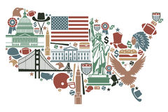 Map of USA. Traditional symbols in the form of a USA map vector illustration