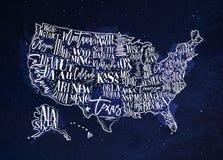 Map USA vintage blue Royalty Free Stock Image