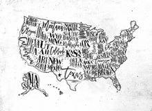 Map USA vintage Stock Image