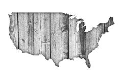 Map of the USA on weathered wood Stock Photography