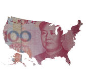 Map of the USA on a 100 yuan bill. Capitalism and globalization. Map of the USA covered with 100 yuan bill, with Mao Tse-Tung on it. Real photo, not a render royalty free stock photo
