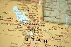 Map of Utah. Map of Salt Lake City and surrounding area stock images
