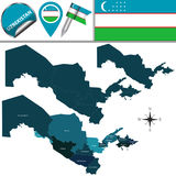 Map of Uzbekistan with Regions Royalty Free Stock Photos