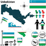 Map of Uzbekistan Stock Image