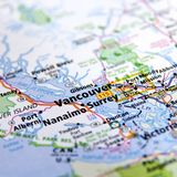 Map of Vancouver. A close up of a map with the focus on Vancouver, British Columbia, Canada Stock Photography