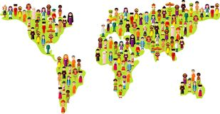 Map vector illustration multicultural national children on planet earth. Set of international people in traditional costumes on the map world Royalty Free Stock Photo
