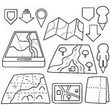 Map. Vector set of map cartoon Royalty Free Stock Image