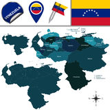 Map of Venezuela with Named States Royalty Free Stock Images