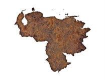 Map of Venezuela on rusty metal Stock Images