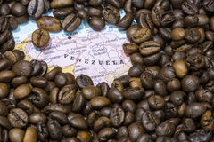 Map of Venezuela under a background of coffee beans Royalty Free Stock Images