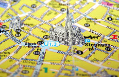 Map of Vienna, Austria. Picture of Wien map, Osterreich Royalty Free Stock Images