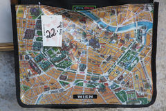 Map of Vienna depicted on the map bag Royalty Free Stock Photo