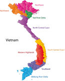 Map of Vietnam. Vietnam map designed in illustration with the regions and provinces colored in bright colors and with the main cities. (Map is hight resolution Royalty Free Stock Photo