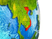 Map of Vietnam on 3D Earth. Vietnam on 3D model of Earth with divided countries and blue oceans. 3D illustration stock illustration