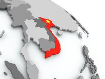 Map of Vietnam with flag on globe. Vietnam on globe with flag. 3D illustration stock illustration