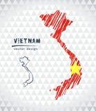 Map of Vietnam with hand drawn sketch pen map inside. Vector illustration. Vector sketch map of Vietnam with flag, hand drawn chalk illustration. Grunge design stock illustration
