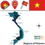 Map of Vietnam with Regions Royalty Free Stock Photography