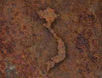 Map of Vietnam on rusty metal. Colorful and crisp image of map of Vietnam on rusty metal stock photo