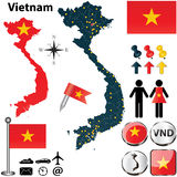 Map of Vietnam. Vector of Vietnam set with detailed country shape with region borders, flags and icons Stock Photo