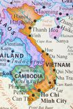 Map of Vietnam. Vietnam`s capital city is Hanoi while the most populous city is Ho Chi Minh royalty free stock photo