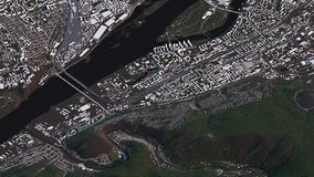 Krasnoyarsk map in 3d isometric landscape roads and buildings stock illustration