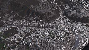 Krasnoyarsk map in 3d isometric landscape roads and buildings royalty free stock photography