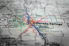 Map View For Travel to Locations and Destinations Colrado Spring. Travel to locations on map views paper destinations Colorado Springs Royalty Free Stock Images