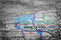 Map View For Travel to Locations and Destinations New York. Travel to locations on map views paper destinations New York royalty free stock photography