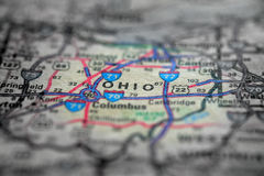 Map View For Travel to Locations and Destinations Ohio. Travel to locations on map views paper destinations Ohio royalty free stock images