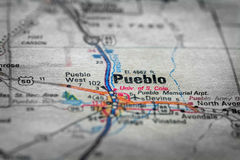 Map View For Travel to Locations and Destinations Pueblo Colorad Royalty Free Stock Photo