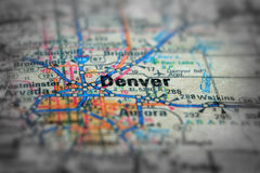 Map View For Travel to Locations and Destinations to Denver Colo. Travel to locations on map views paper destinations to Denver Colorado Royalty Free Stock Photo