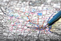 Map View For Travel to Locations with Pen. Map for travel to locations with pen pointing to destination view Royalty Free Stock Image