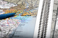 Map View For Travel to Locations with Pen. Map for travel to locations with pen pointing to destination view Royalty Free Stock Images