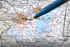 Map View For Travel to Locations with Pen. Map for travel to locations with pen pointing to destination view Stock Photos