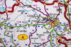 Map view of Vienna Royalty Free Stock Photography