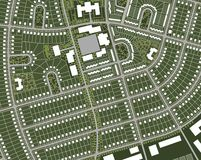 Map of the village. Generic nameless village map with streets, houses, green belts and central square Royalty Free Stock Photos