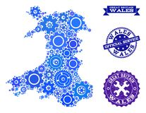 Collage Map of Wales with Cogs and Grunge Seals for Services stock illustration