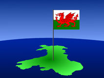Map of Wales with flag. Map of Wales and their flag on pole illustration Stock Photos