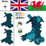 Map of Wales with Principal Areas Stock Photography
