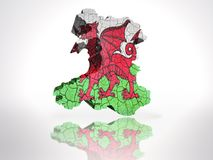 Map of  Wales. Map of Wales with Welsh Flag on a white background Stock Photo