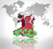 Map of  Wales. Map of Wales with Welsh Flag on a world map background Stock Photo