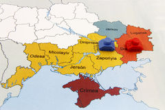 Map of War in Ukraine with Tank Stock Photo