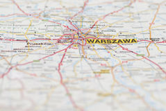 Map of Warsaw City. Stock Images