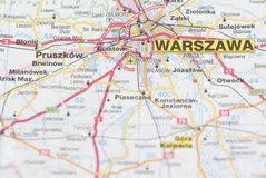 Map of Warsaw City. Stock Image