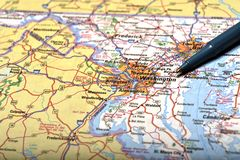Map of Washington and Pen Pointing to Destination Royalty Free Stock Photo
