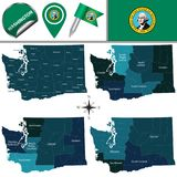 Map of Washington with Regions Royalty Free Stock Photography