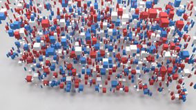 Map of Washington - USA -. Map of Washington - USA | 3d fall down of little bricks - Flag colors stock video footage