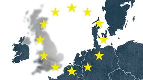 Map of west of European Union with 12 iconic stars - animation for the Brexit - United Kingdom is erased in a smoke animation